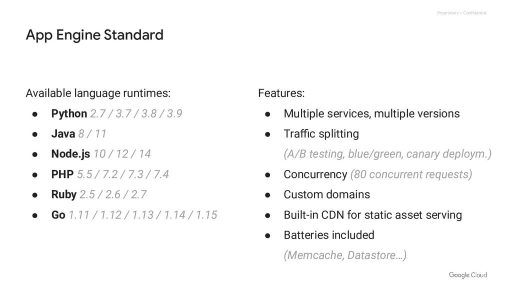 Proprietary + Confidential App Engine Standard ...