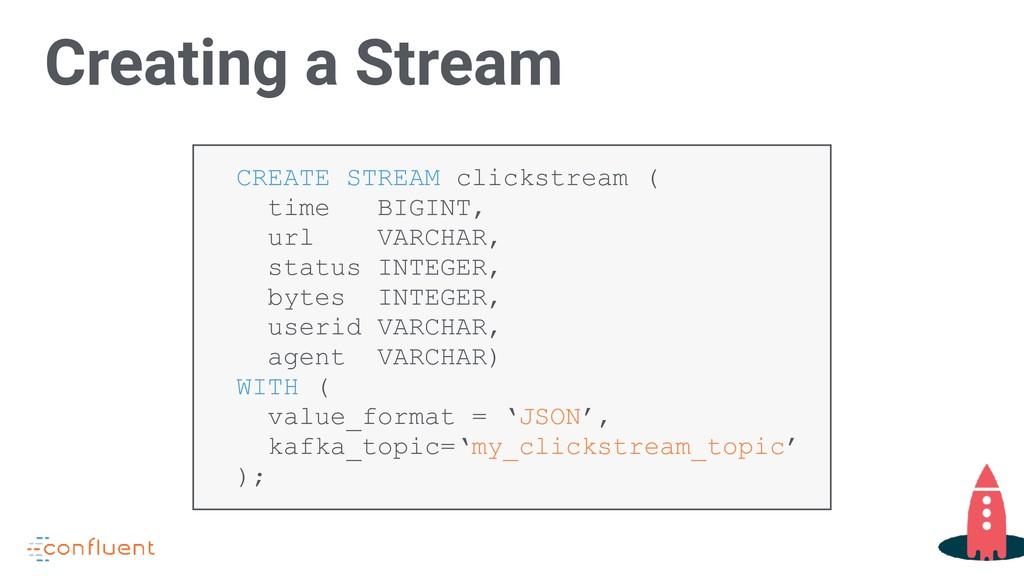 CREATE STREAM clickstream ( time BIGINT, url VA...