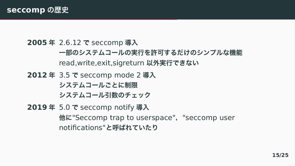 seccomp 〣ྺ 2005  2.6.12 〜 seccomp ಋೖ Ұ෦〣てとふわぢ...