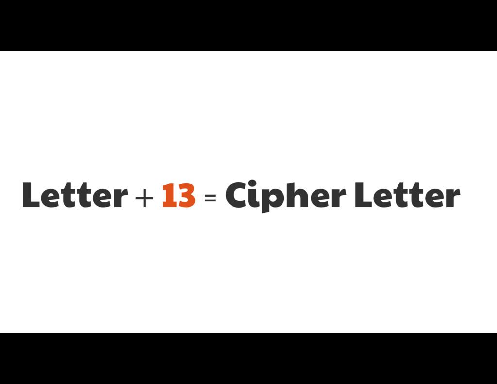 Letter + 13 = Cipher Letter