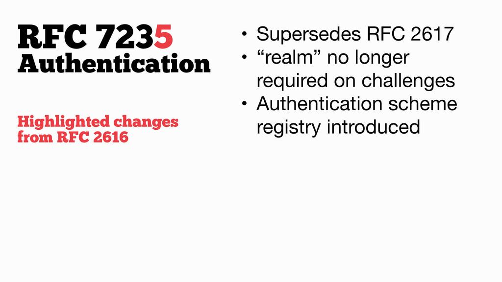 """RFC 7235 • Supersedes RFC 2617  • """"realm"""" no lo..."""