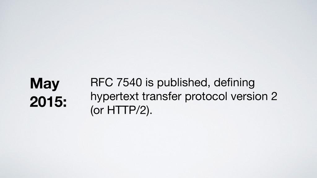 RFC 7540 is published, defining hypertext transf...
