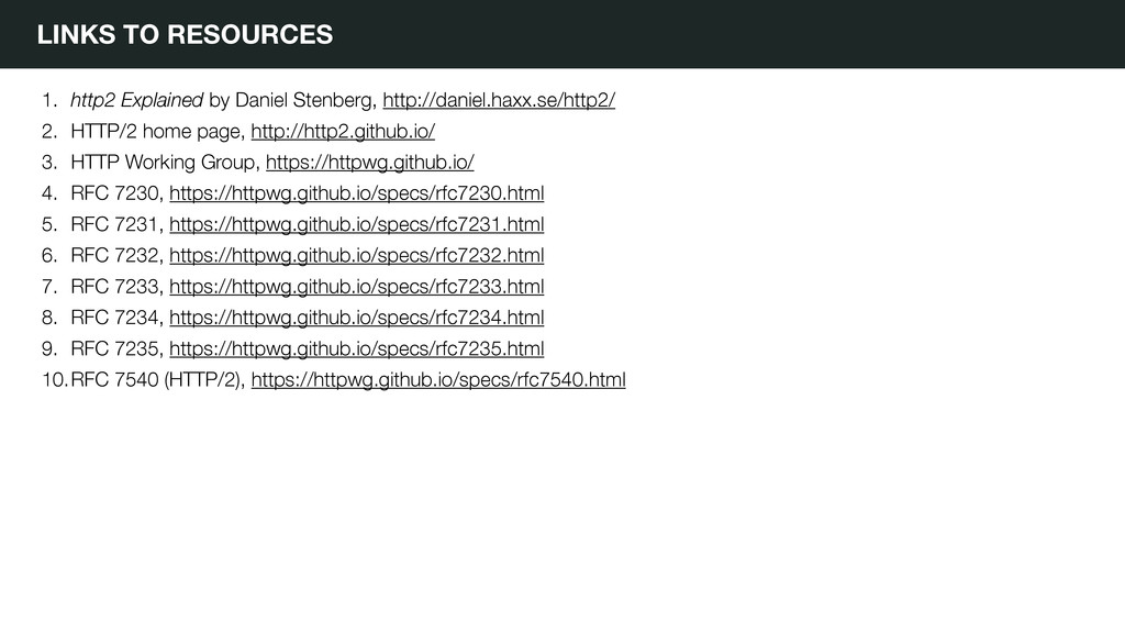 LINKS TO RESOURCES 1. http2 Explained by Daniel...