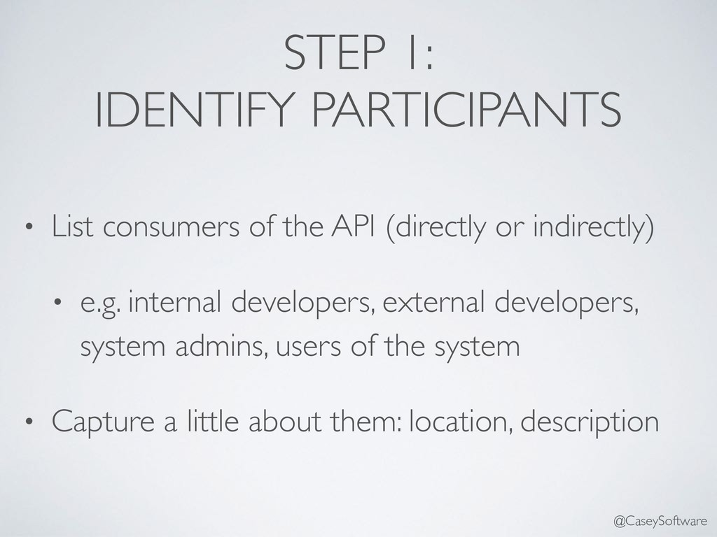 STEP 1: IDENTIFY PARTICIPANTS • List consumers ...