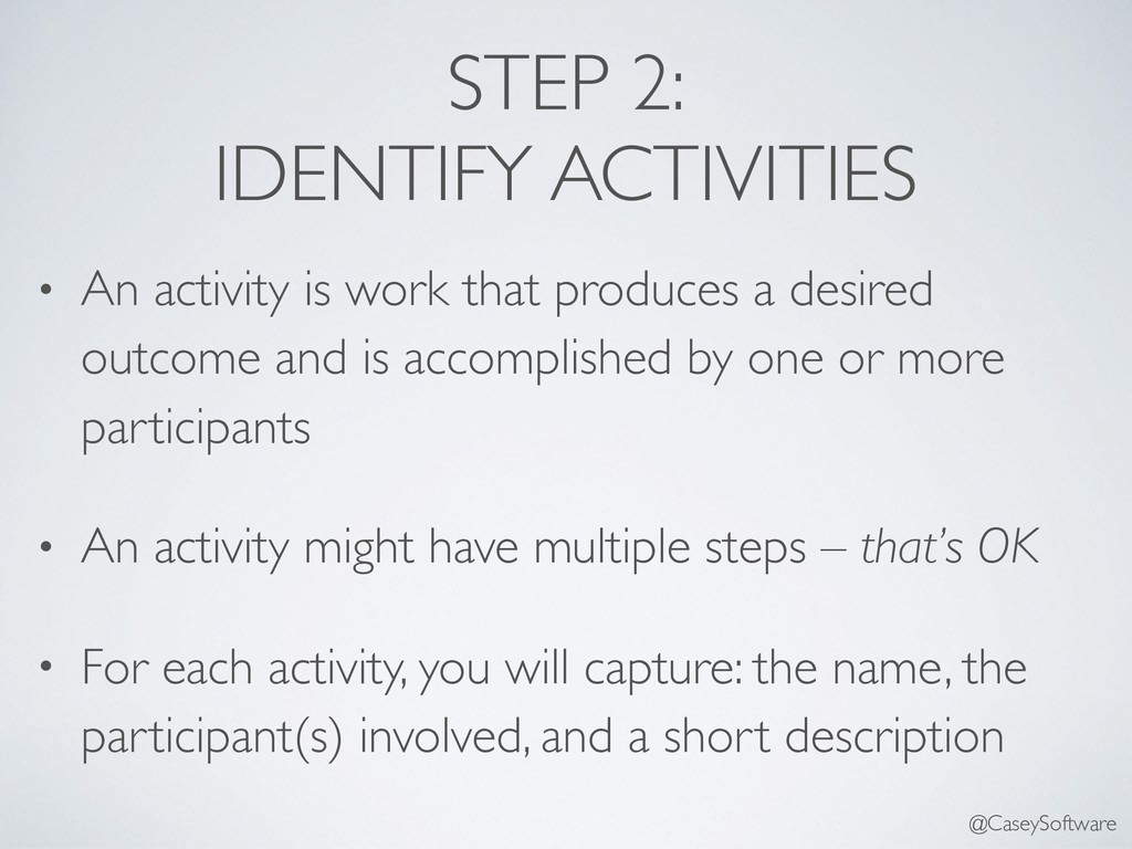STEP 2: IDENTIFY ACTIVITIES • An activity is wo...