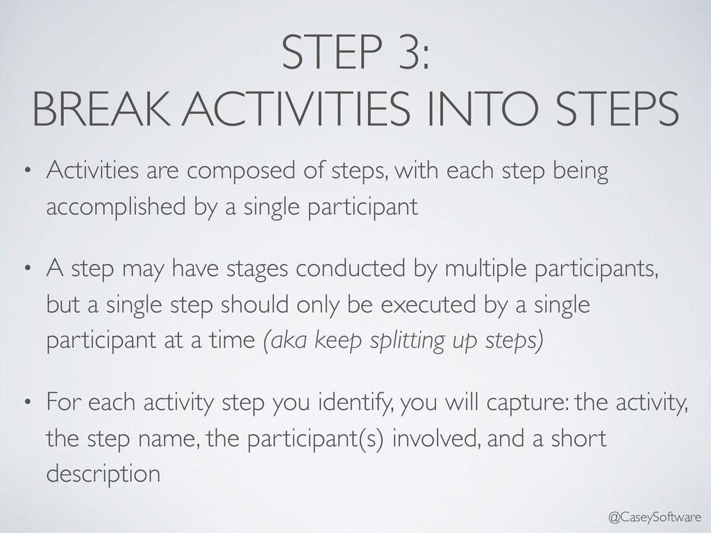 STEP 3: BREAK ACTIVITIES INTO STEPS • Activitie...