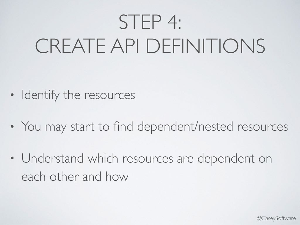 STEP 4: CREATE API DEFINITIONS • Identify the r...