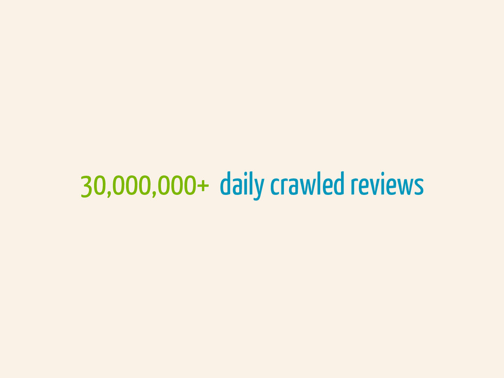 30,000,000+ daily crawled reviews