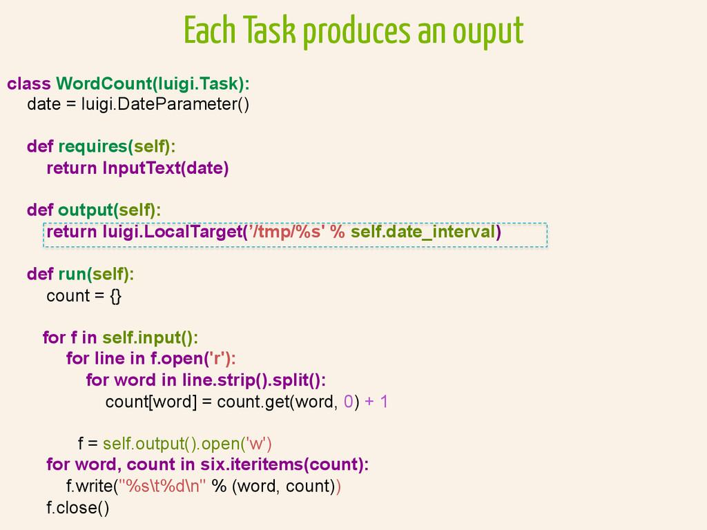 class WordCount(luigi.Task): date = luigi.DateP...
