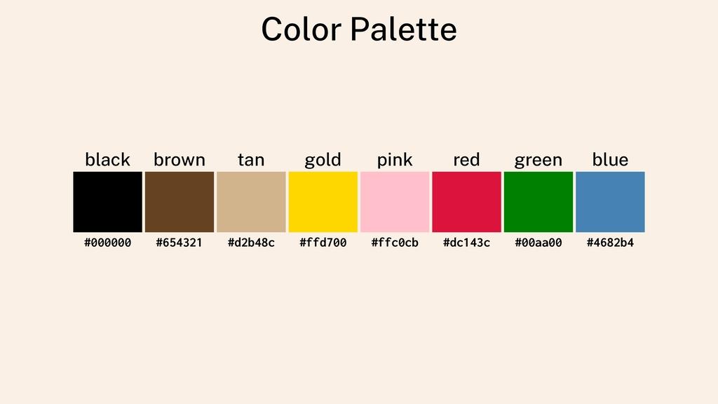 Color Palette black brown tan gold pink red gre...