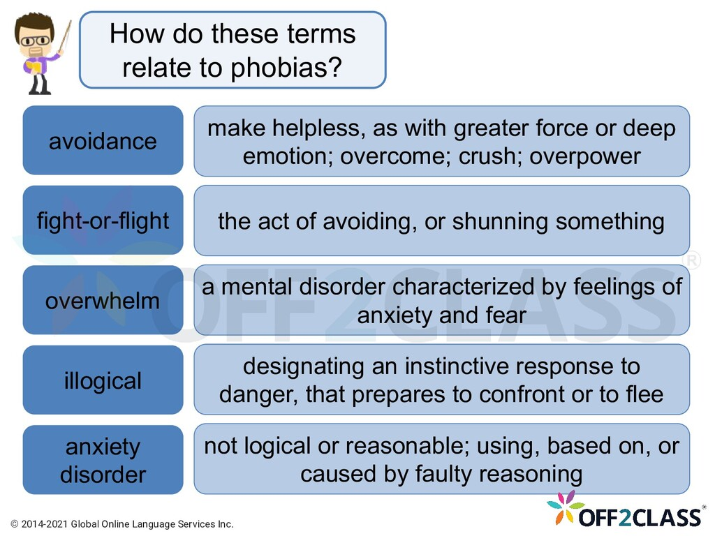 How do these terms relate to phobias? avoidance...