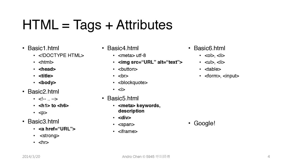 "HTML = Tags + Attributes • Basic1.html"" • <..."