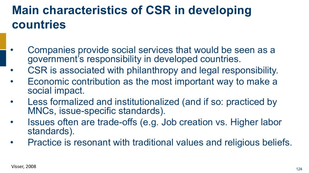 Main characteristics of CSR in developing count...