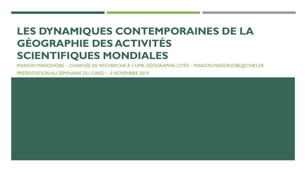 LES DYNAMIQUES CONTEMPORAINES DE LA GÉOGRAPHIE ...