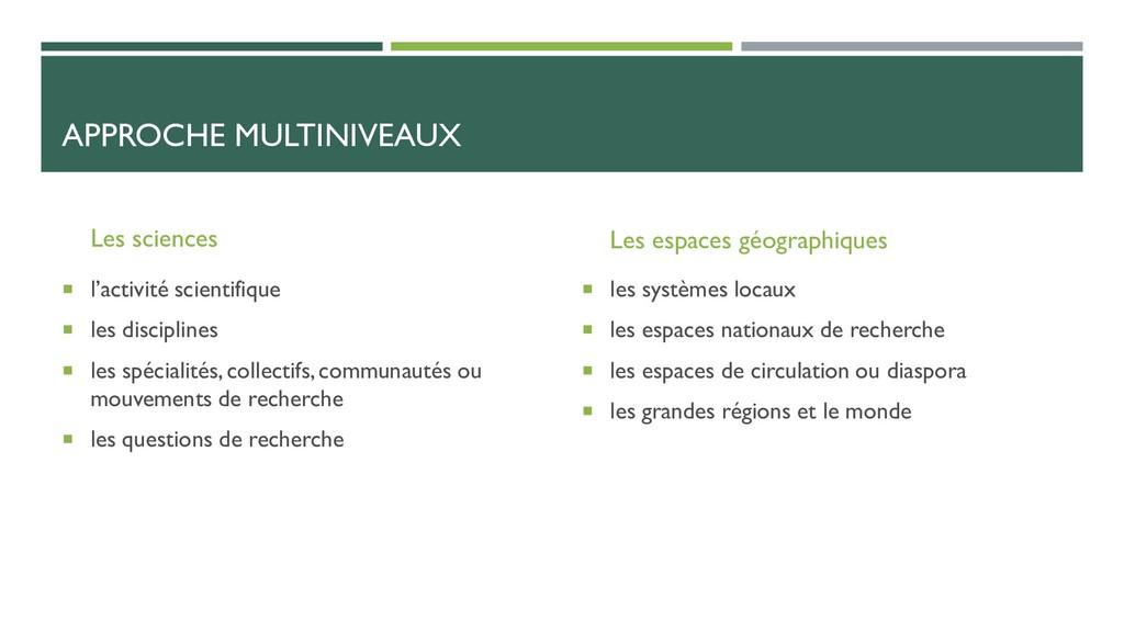 APPROCHE MULTINIVEAUX Les sciences  l'activité...