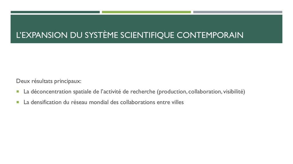 L'EXPANSION DU SYSTÈME SCIENTIFIQUE CONTEMPORAI...