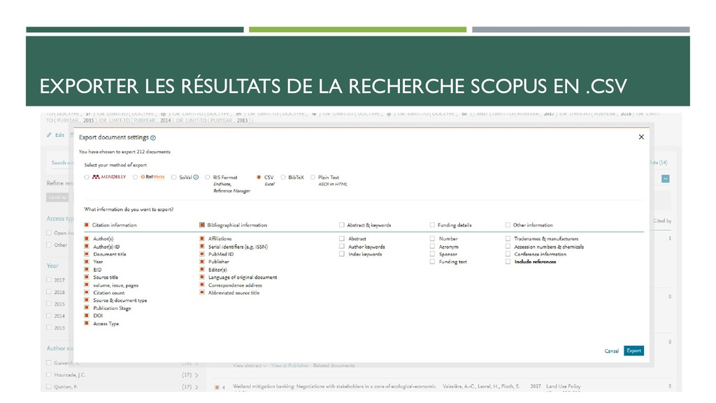EXPORTER LES RÉSULTATS DE LA RECHERCHE SCOPUS E...