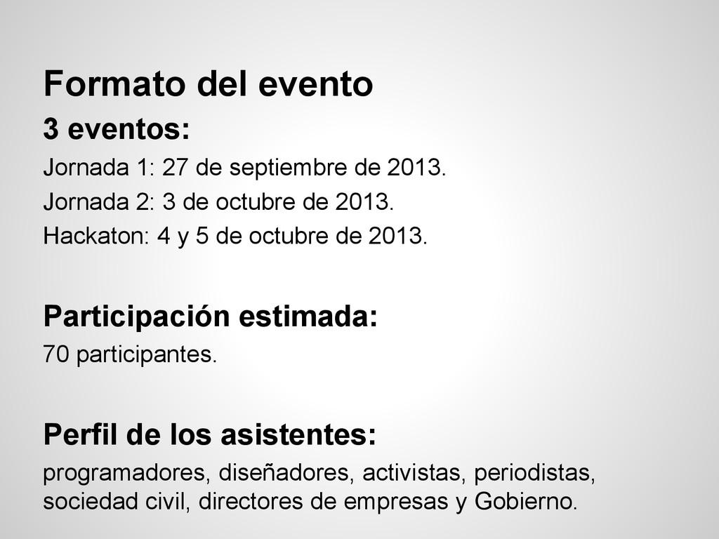 Formato del evento 3 eventos: Jornada 1: 27 de ...