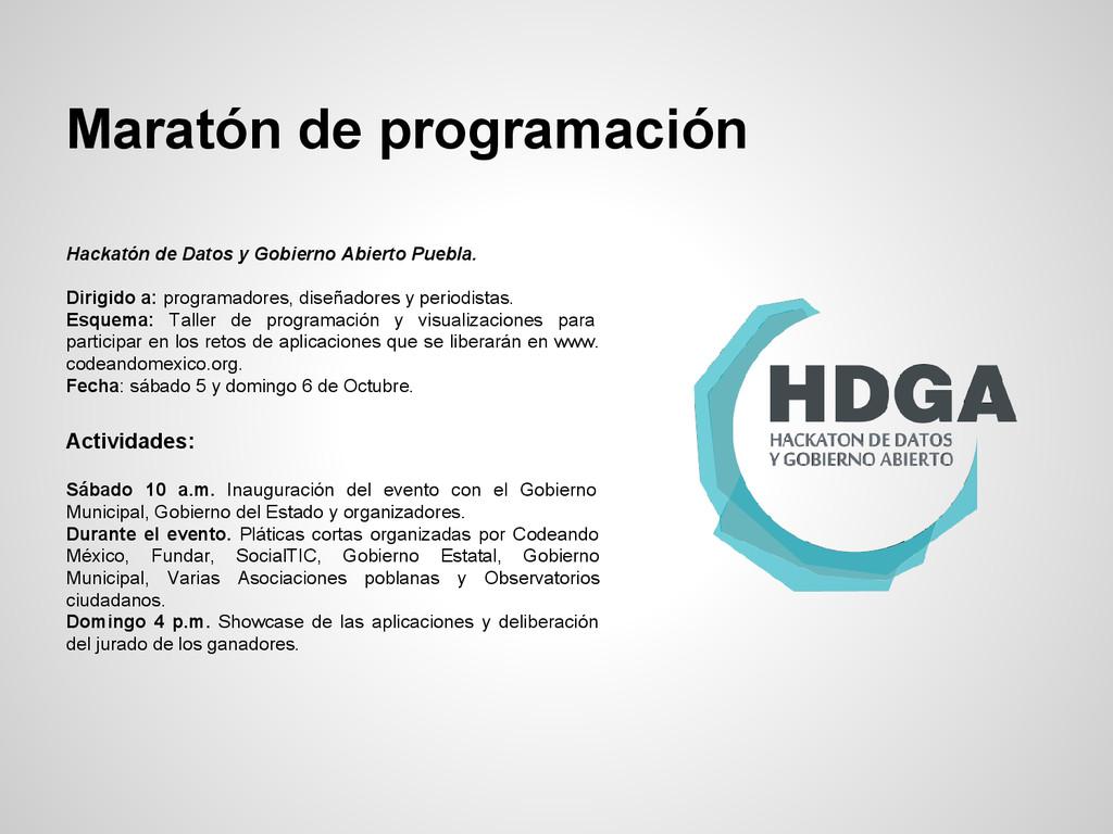 Maratón de programación Hackatón de Datos y Gob...