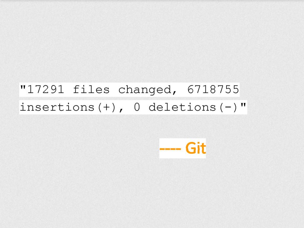 "---- Git ""17291 files changed, 6718755 insertio..."