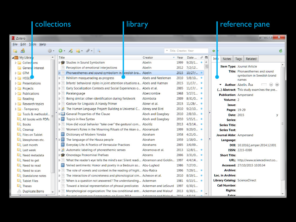 collections library reference pane
