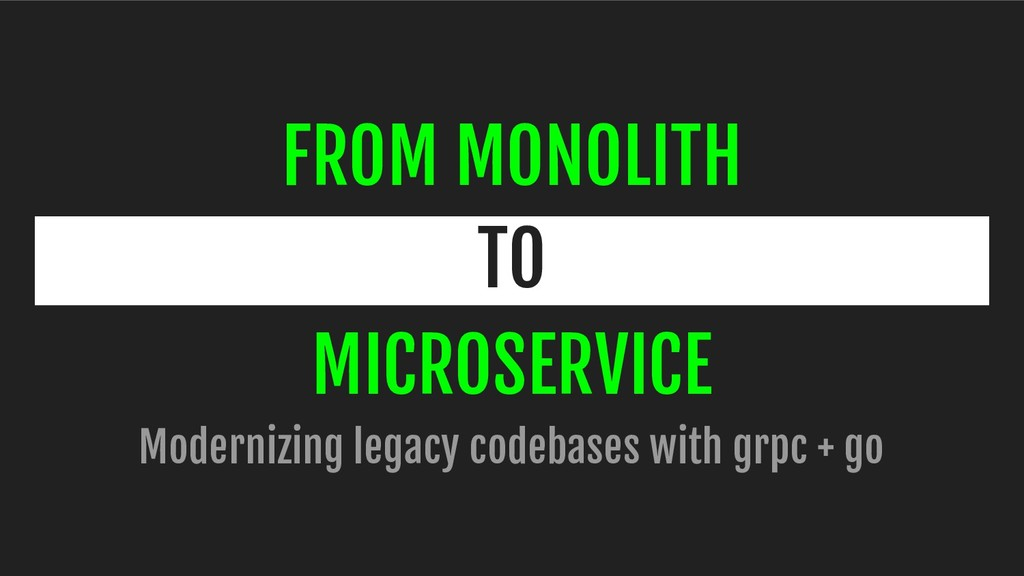 FROM MONOLITH TO MICROSERVICE Modernizing legac...