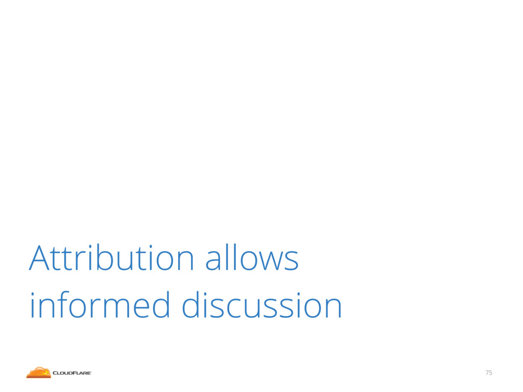75 Attribution allows informed discussion