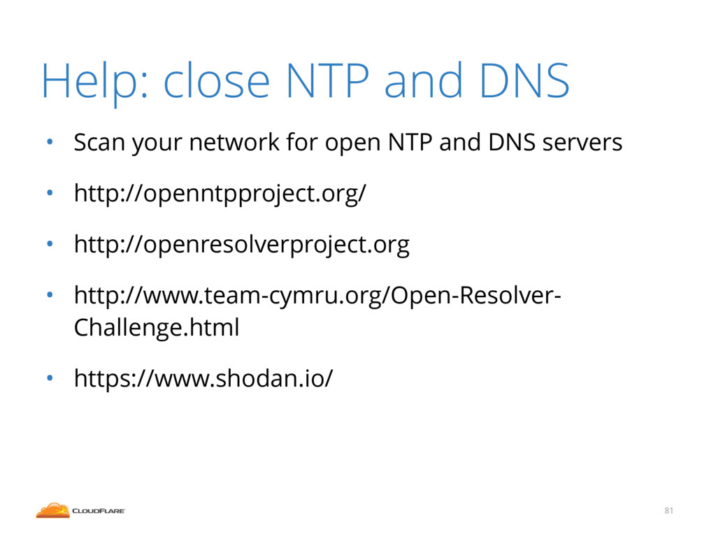 • Scan your network for open NTP and DNS server...