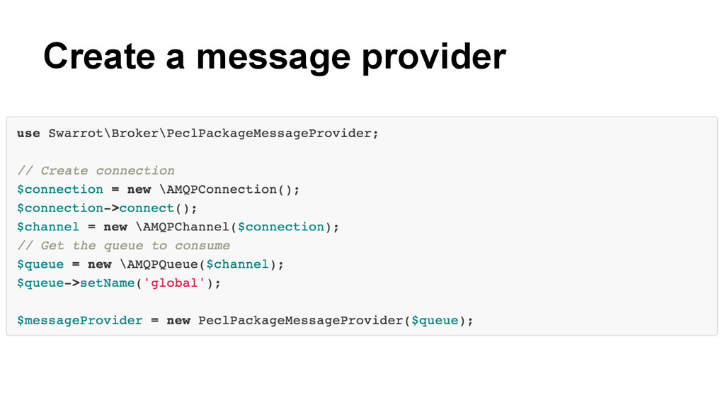 Create a message provider