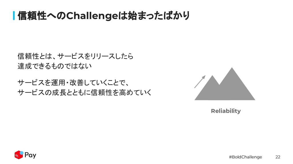 #BoldChallenge 22 信頼性とは、サービスをリリースしたら 達成できるものではな...