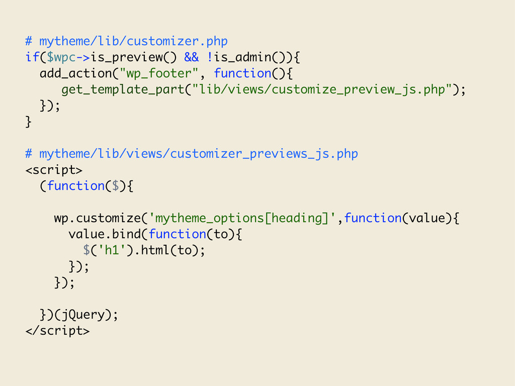 # mytheme/lib/customizer.php if($wpc->is_previe...