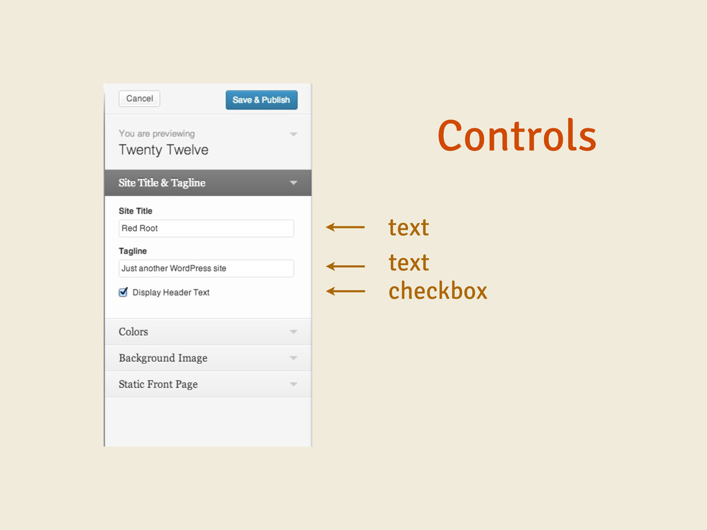 Controls text text checkbox