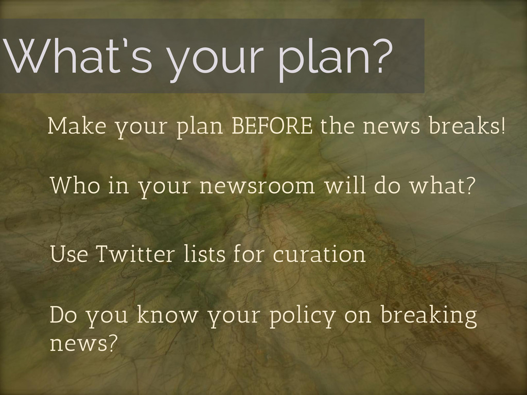 What's your plan? Make your plan BEFORE the new...
