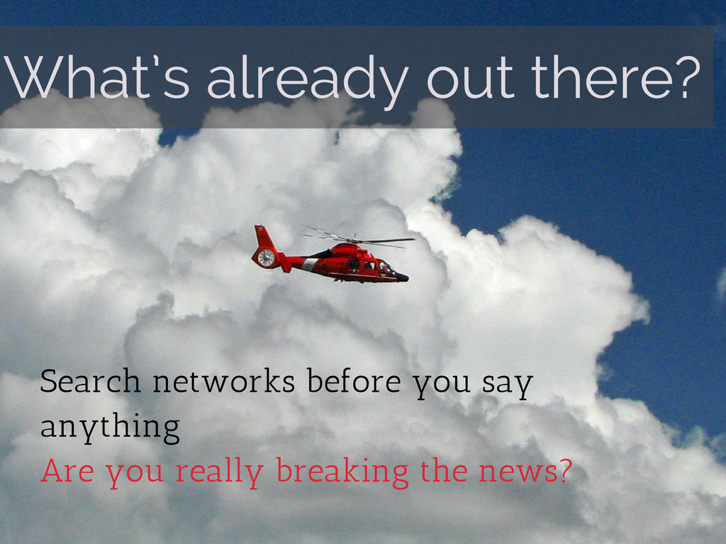 What's already out there? Search networks befor...