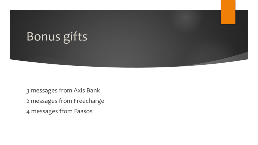Bonus gifts 3 messages from Axis Bank 2 message...