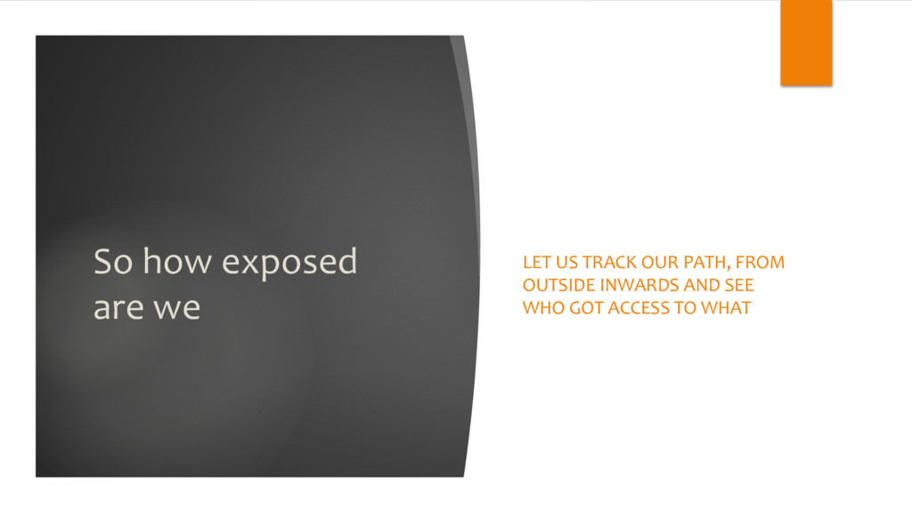 So how exposed are we LET US TRACK OUR PATH, FR...