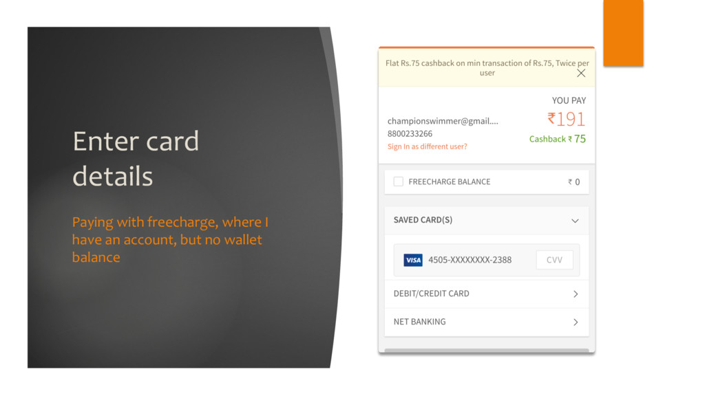 Enter card details Paying with freecharge, wher...
