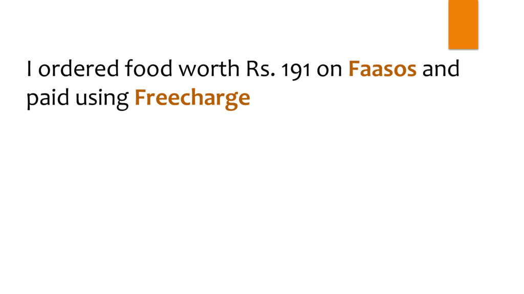 I ordered food worth Rs. 191 on Faasos and paid...