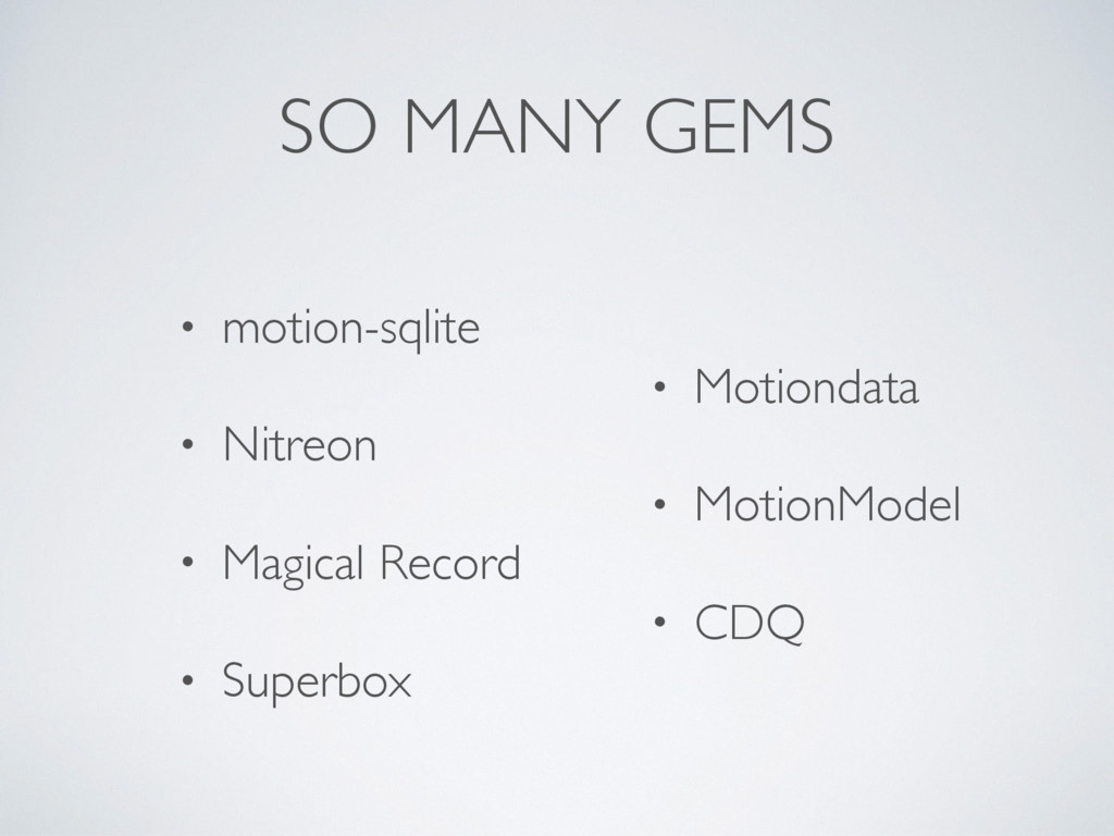 SO MANY GEMS • motion-sqlite • Nitreon • Magica...