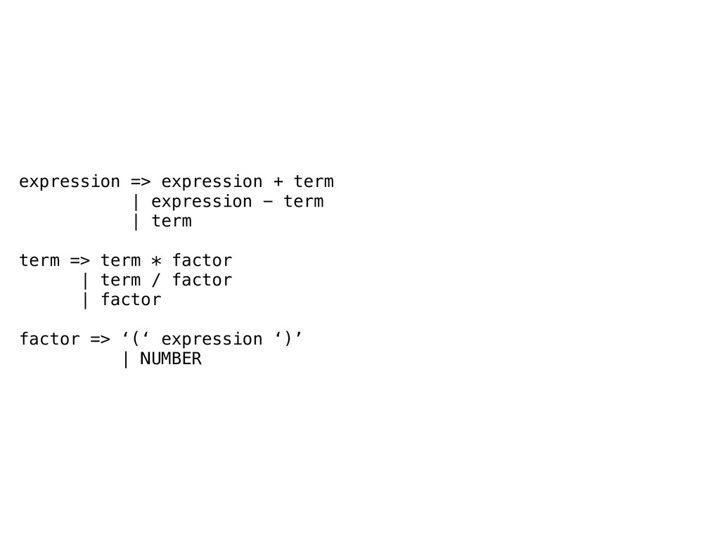 expression => expression + term | expression - ...