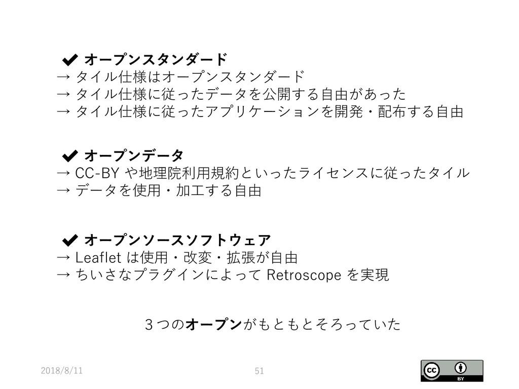2018/8/11 51 ✔ オープンスタンダード → タイル仕様はオープンスタンダード → ...