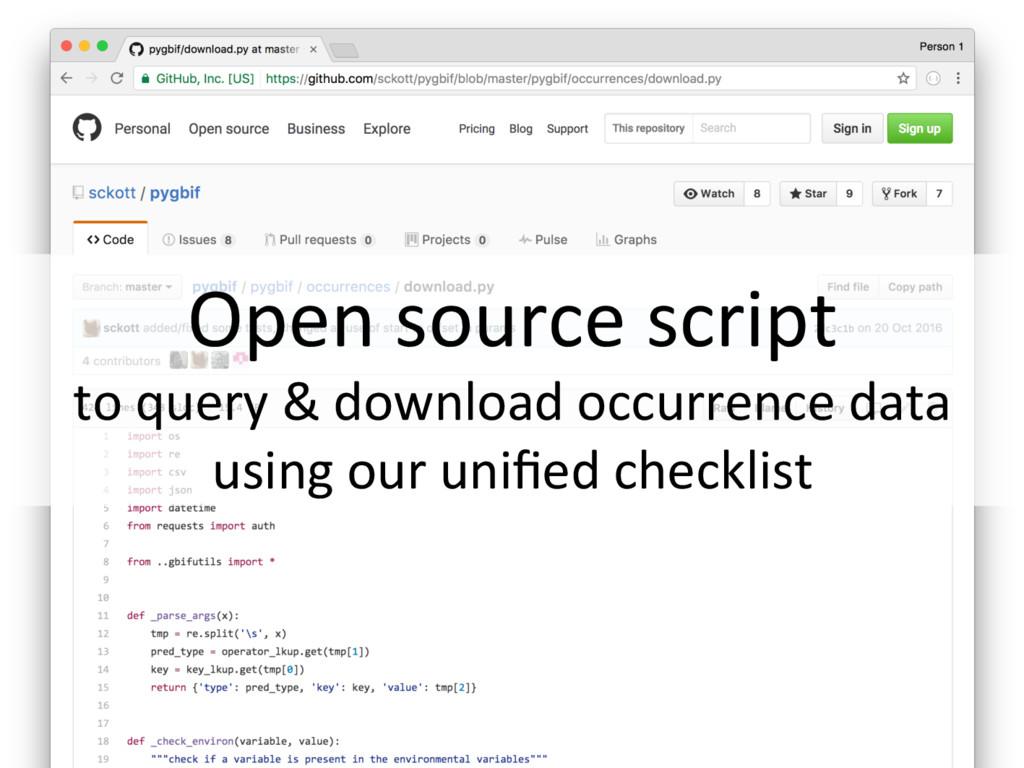 Open source script to query & download occurren...