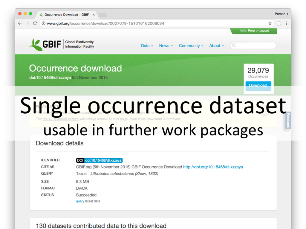 Single occurrence dataset usable in further wor...