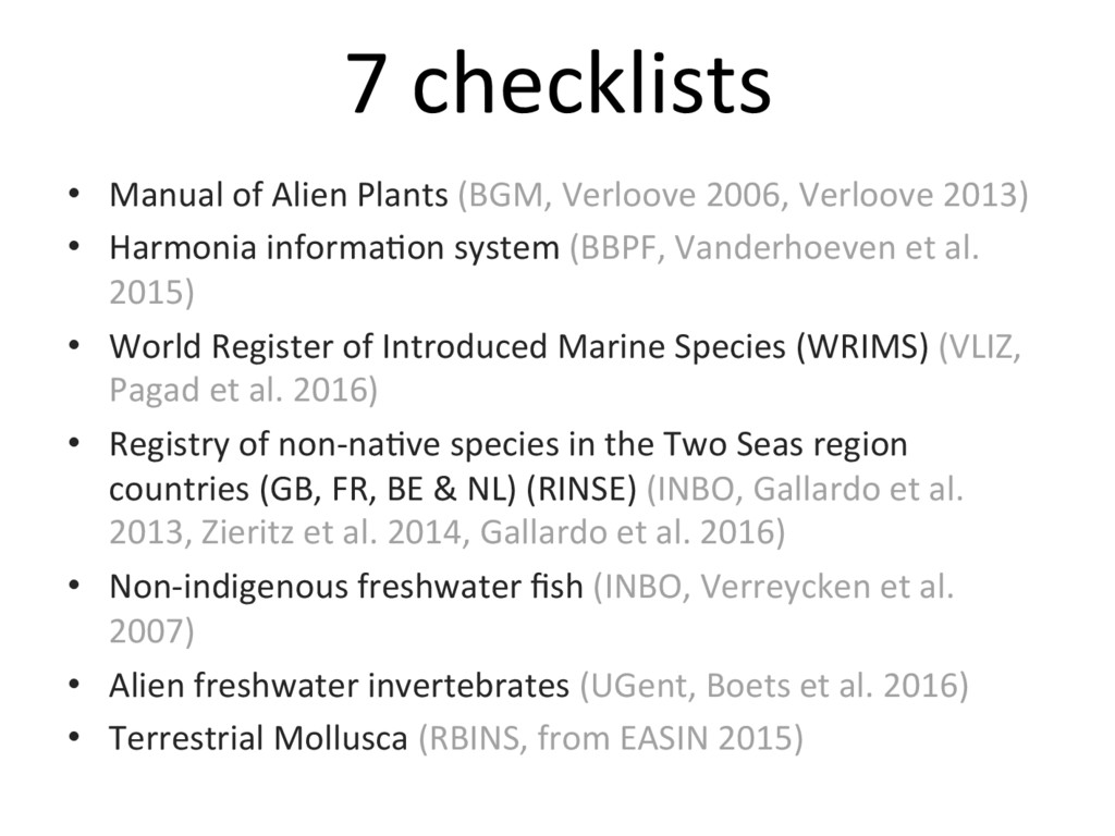 7 checklists • Manual of Alien Plants (BGM, Ve...