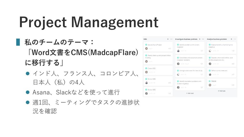 Project Management ▌ 私のチームのテーマ: 「Word文書をCMS(Mad...