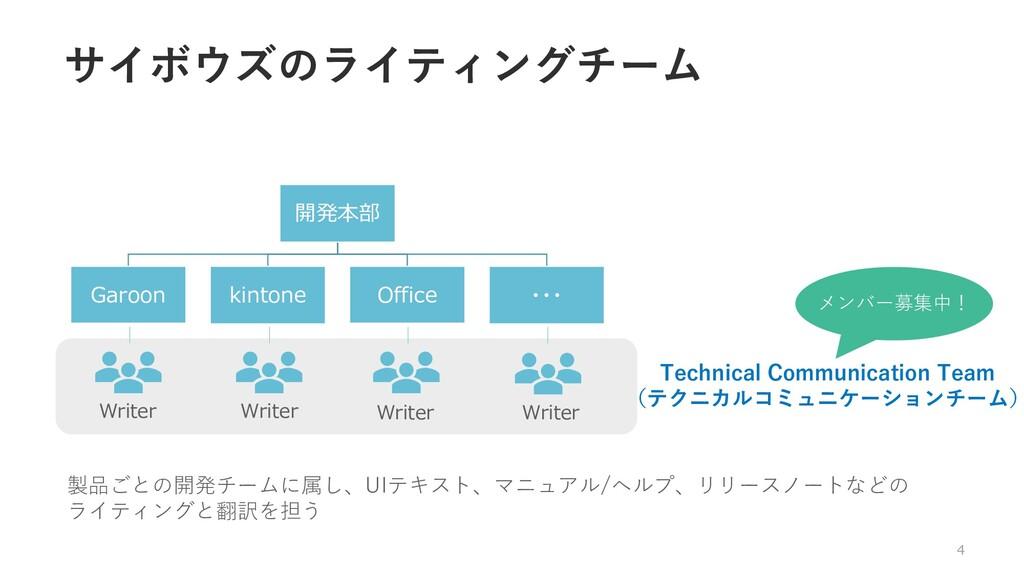 サイボウズのライティングチーム 4 開発本部 Garoon kintone Office ・・...