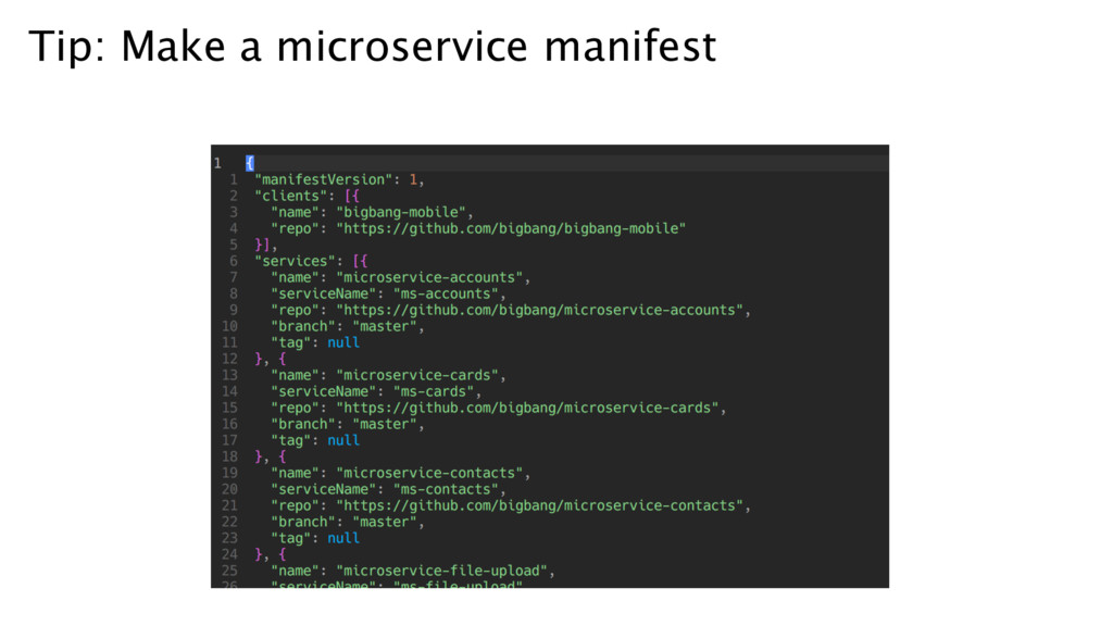 Tip: Make a microservice manifest