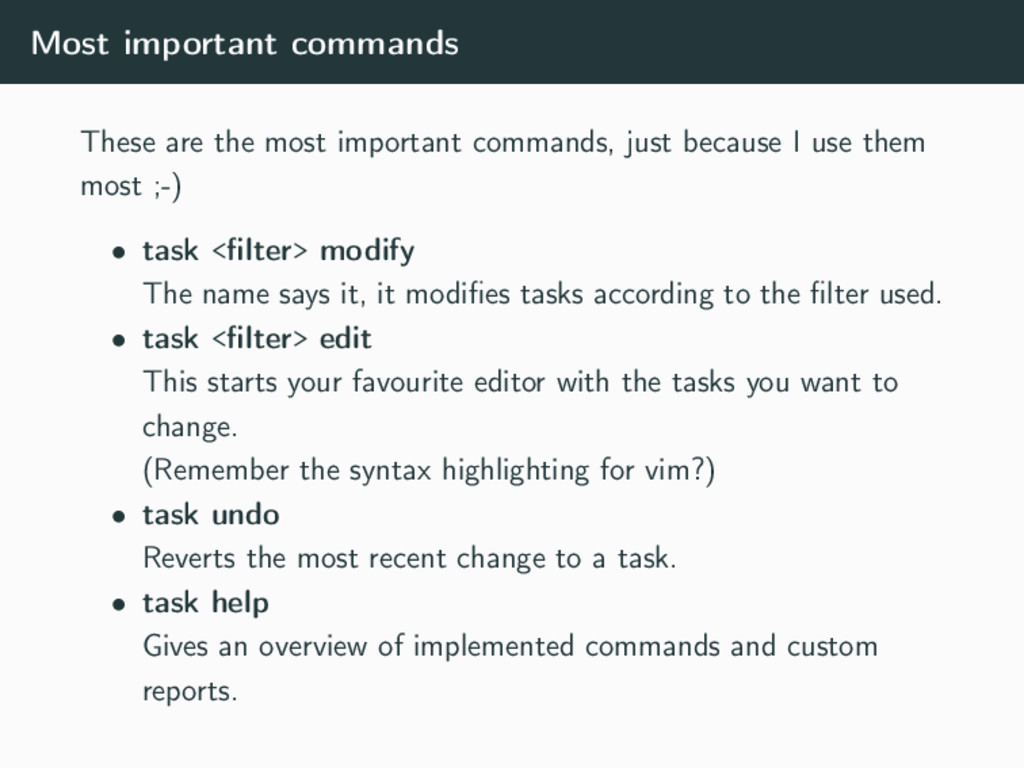 Most important commands These are the most impo...