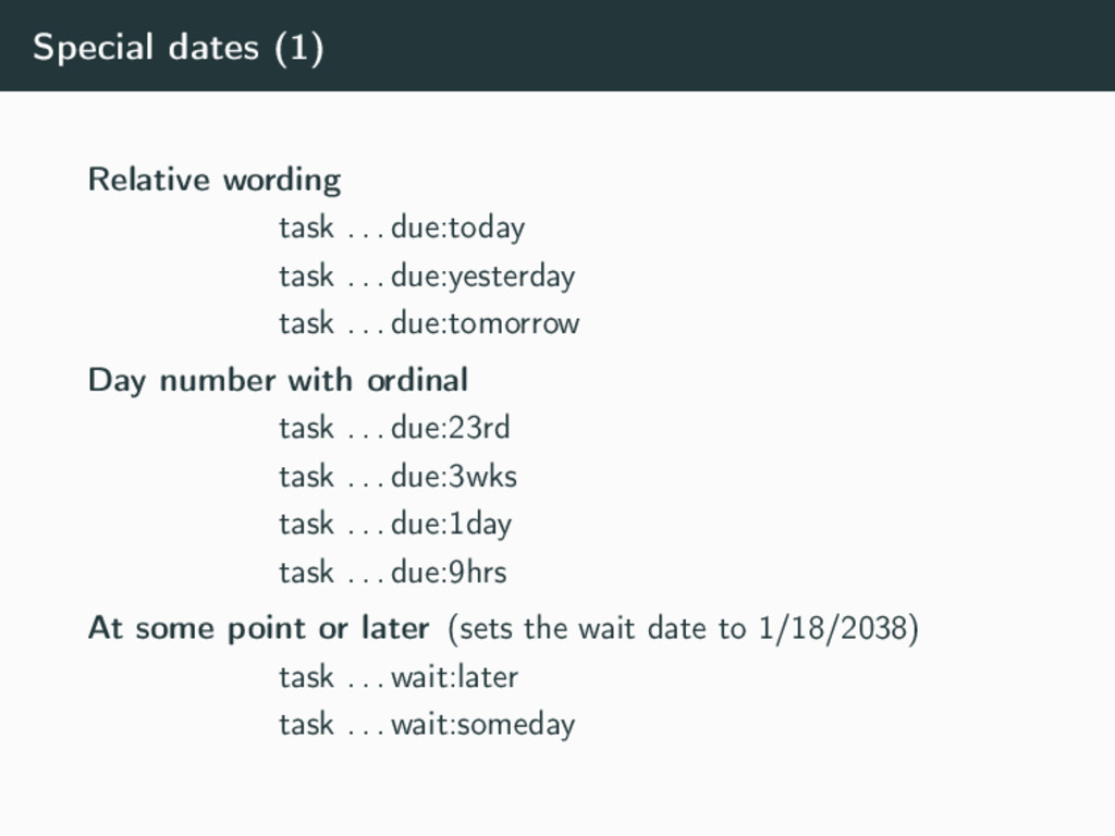 Special dates (1) Relative wording task . . . d...
