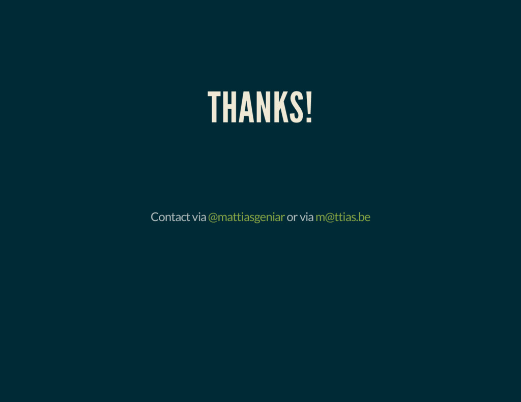 THANKS! Contact via @mattiasgeniar or via m@tti...
